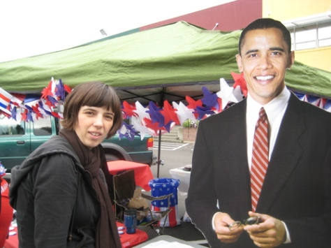 What is Obama doing at market?