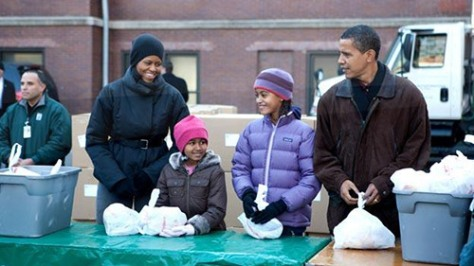 The Obama family, celebrating service
